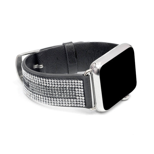 Apple Watch Black Replacement Band with Crystal and Hematite Swarovski Elements- Sheer Elegance Collection