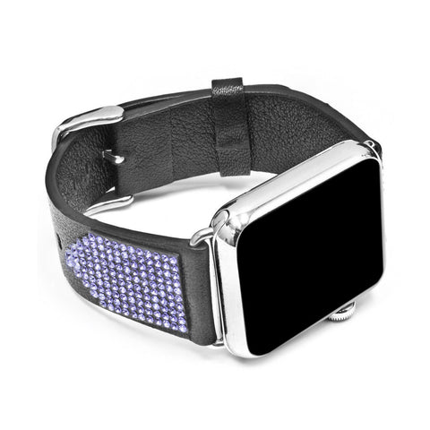Apple Watch Black Replacement Band with Tanzanite Swarovski Elements - Shimmer Collection