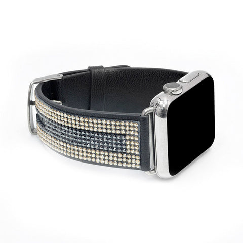 Apple Watch Black Replacement Band  with Golden Shadow and Jet Hematite Swarovski Elements - Sheer Elegance Collection