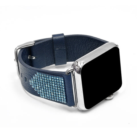 Apple Watch Navy Replacement Band with Aquamarine Swarovski Elements - Shimmer Collection