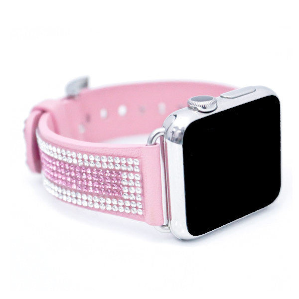 Apple Watch Light Pink Replacement Band with Crystal and Rose Swarovski Elements - Sheer Elegance Collection