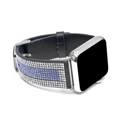 Apple Watch Black Replacement Band with Crystal and Tanzanite Swarovski Elements - Sheer Elegance Collection