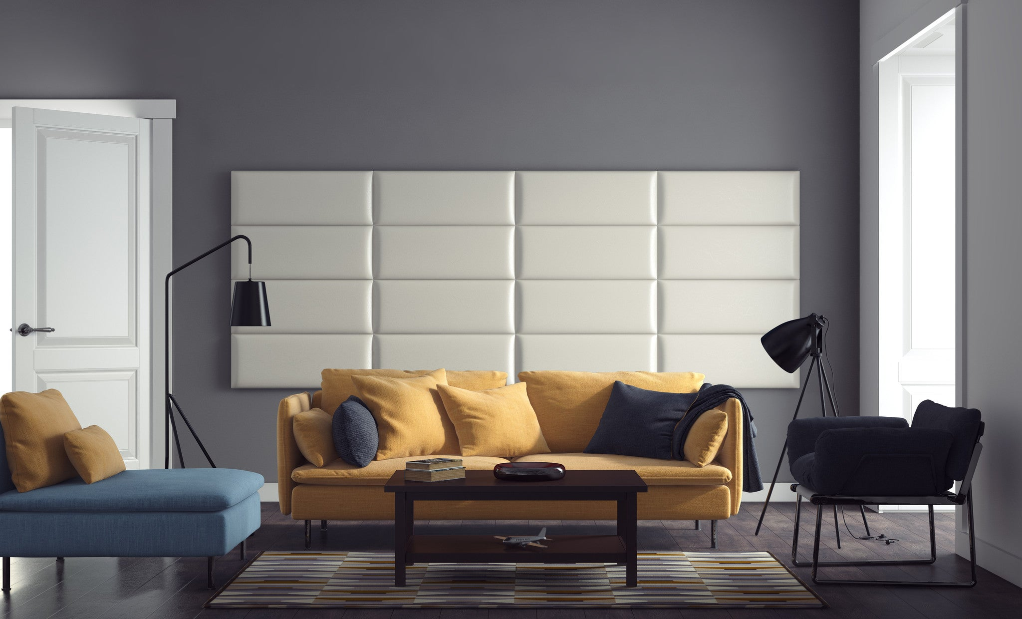 Crystal white leatherette upholstered wall panels by vänt pack of 4