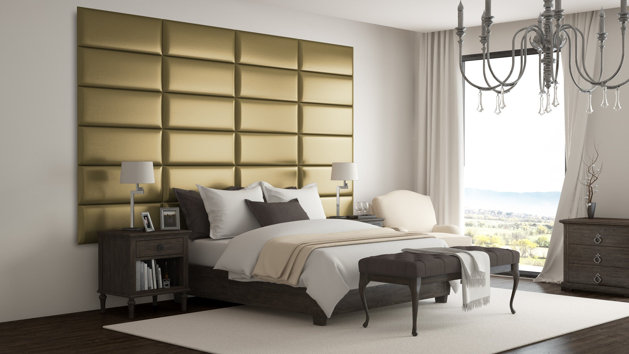 Gold metallic upholstered wall panels by vänt pack of 4