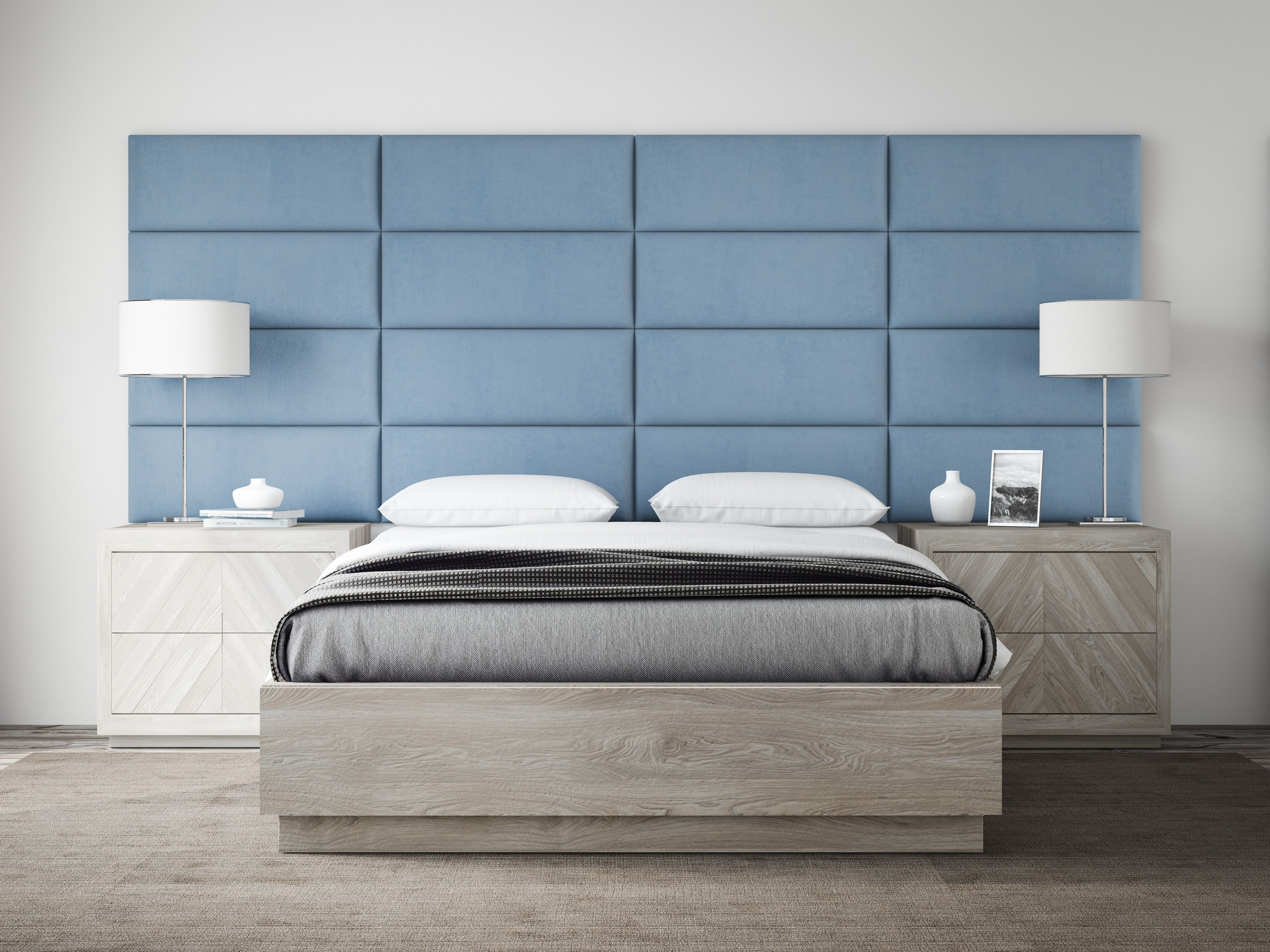 Ocean blue suede upholstered wall panels by vänt pack of 4