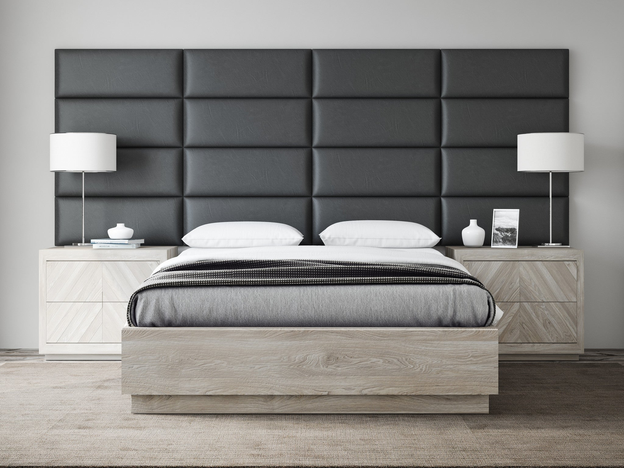 Black coal vintage leather upholstered wall panels by vänt pack of 4
