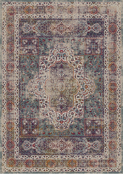 Vintage Style Soft Polyester Print on Design Elevate 234 Area Rug by Rug Factory Plus