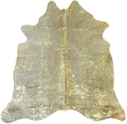 Real Leather Gold Metallic On White  Cowhide  by Rug Factory Plus
