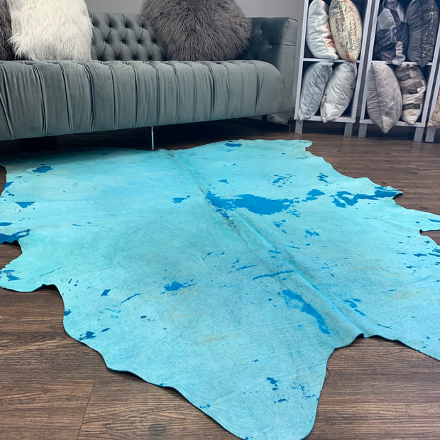 Real Leather Distressed Aqua Blue Cowhide by Rug Factory Plus