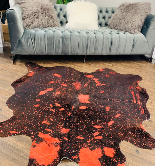 Real Leather Metallic Red Cowhide by Rug Factory Plus
