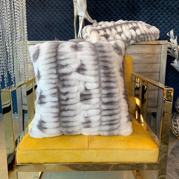 Nuevo Faux Fur Pillow Gray White by Rug Factory Plus