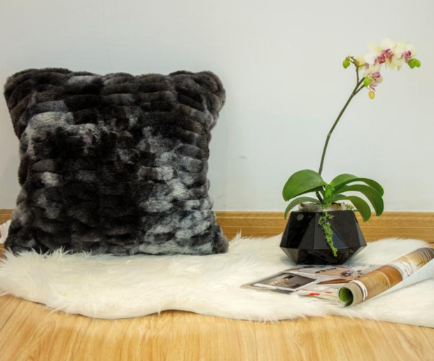 Nuevo Faux Fur Pillow Tie-Dye Charcoal by Rug Factory Plus