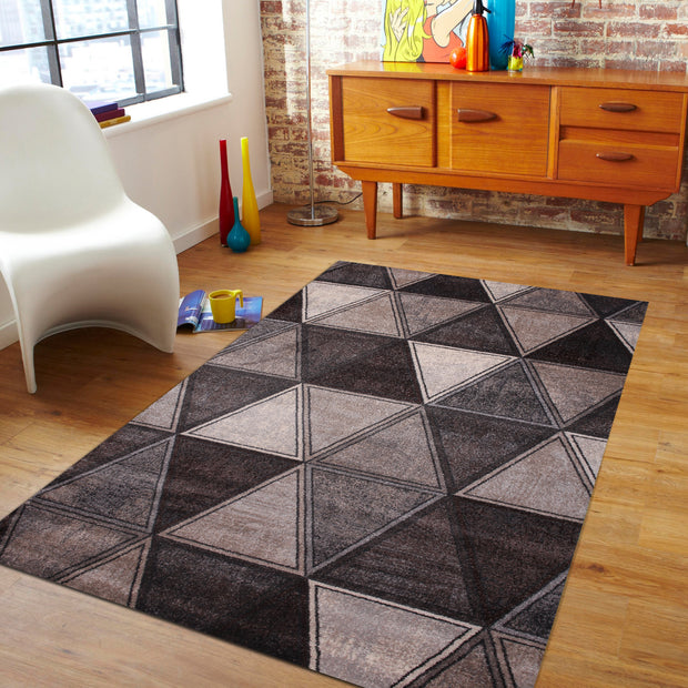 Power Loomed Hand Carved Geometric Design Tara 301 Area Rug by Rug Factory Plus - Rug Factory Plus