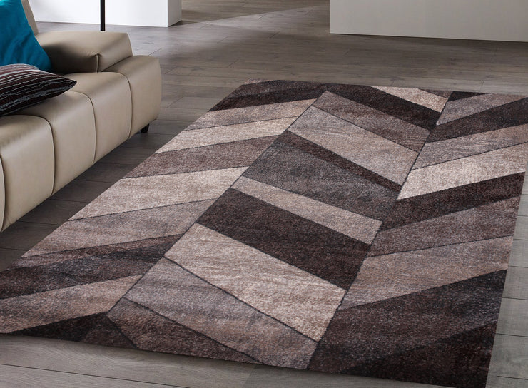 Power Loomed Hand Carved Geometric Design Tara 306 Area Rug by Rug Factory Plus - Rug Factory Plus