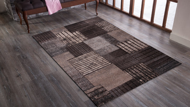 Power Loomed Hand Carved Geometric Design Tara 307 Area Rug by Rug Factory Plus - Rug Factory Plus