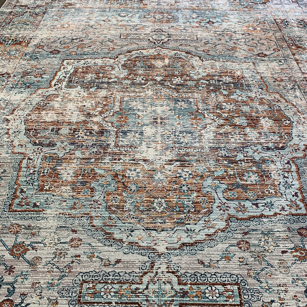 Vintage Style Soft Polyester Print on Design Elevate 232 Area Rug by Rug Factory Plus