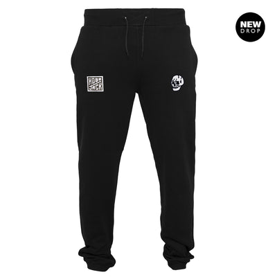 EMBROIDERED JIMMY SKULL BLACK JOGGERS
