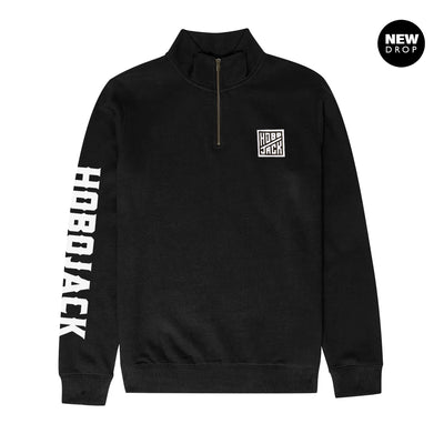 BLACK EMBROIDERED QUARTER ZIP SWEATSHIRT