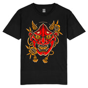 HANNYA - RED - BLACK T SHIRT - FRONT PRINT