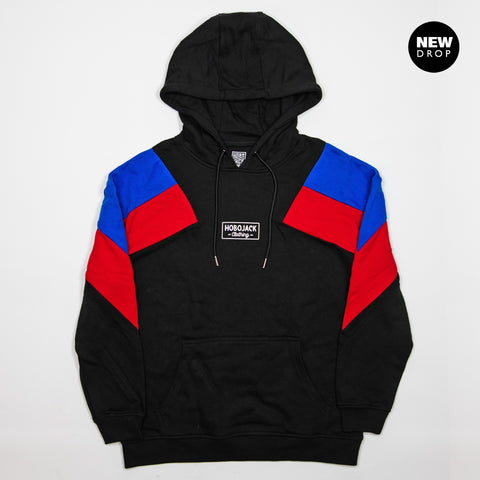 BLACK PANEL COLOUR BLOCK HOODIE