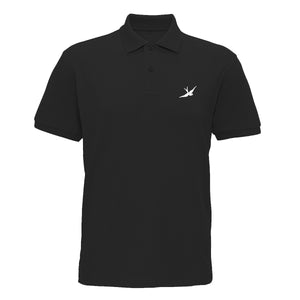 Hobo Jack Traditional Embroidered Swallow POLO Shirt - Black & White