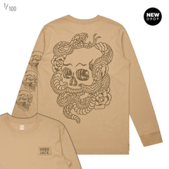 TAN BROWN SKULLS & TIGERS LONG SLEEVE