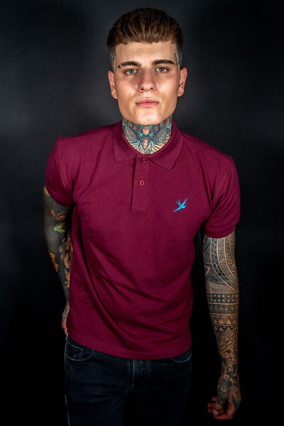 MAROON - SHORT SLEEVE TEE - EMBROIDERED SWALLOW