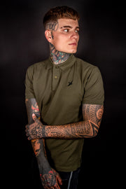 MILITARY GREEN - SHORT SLEEVE TEE - EMBROIDERED SWALLOW