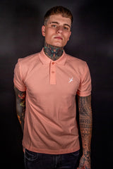 PEACH POLO - SHORT SLEEVE TEE - EMBROIDERED SWALLOW