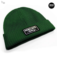 FOREST GREEN RIBBED BEANIE