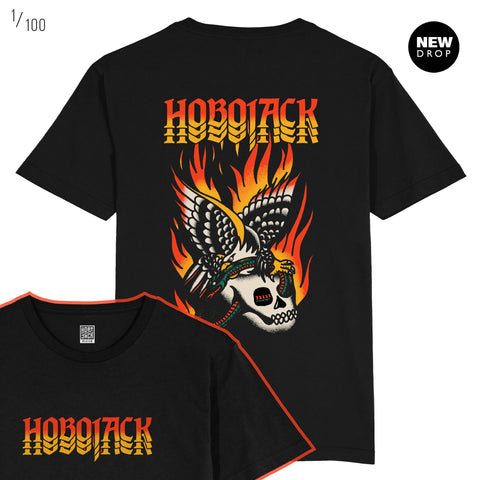 HOT WINGS - BLACK - FRONT & BACK T-SHIRT