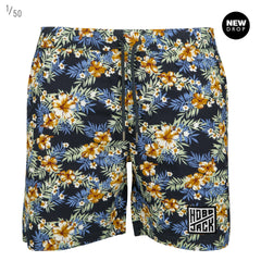 HIBISCUS BLUE PATTERN EMBROIDERED LOGO SUMMER SHORTS