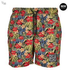 TROPICAL RED PATTERN EMBROIDERED LOGO SUMMER SHORTS