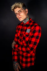 Hobo Checked Flannel - Long Sleeve Shirt - Red