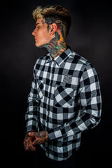 Hobo Checked Flannel - Long Sleeve Shirt - Black and White