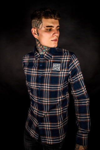 Hobo Checked Flannel - Long Sleeve Shirt - BLUE & OAK BROWN