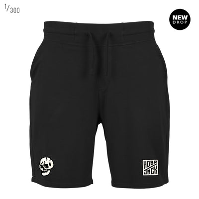 BLACK EMBROIDERED JIMMY SKULL COTTON SWEAT SHORTS