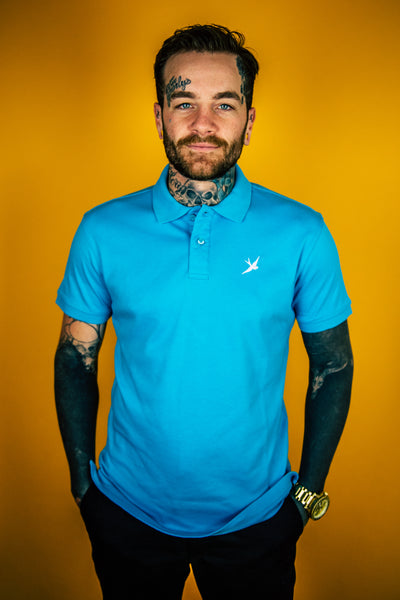 Hobo Jack Premium (Smooth) Embroidered Swallow POLO Shirt - Turquoise & White