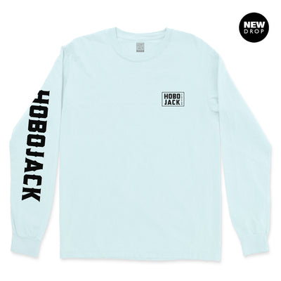 BLUE LONG SLEEVE BOX LOGO POCKET T-SHIRT