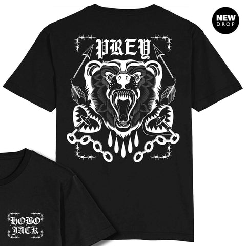 WILD BEAR BY MIKE STOCKINGS - FRONT & BACK - BLACK T-SHIRT
