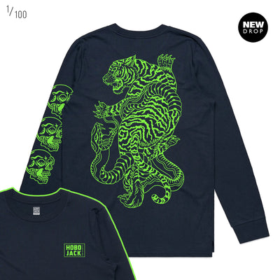 NAVY & LIME GREEN SKULLS & TIGERS LONG SLEEVE