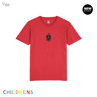 CHILDRENS SNAKE & PANTHER RED T-SHIRT