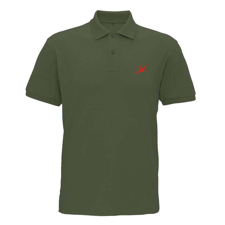 Hobo Jack Traditional Embroidered Swallow POLO Shirt - Military & Red