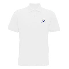 Hobo Jack Traditional Embroidered Swallow POLO Shirt - White & Navy