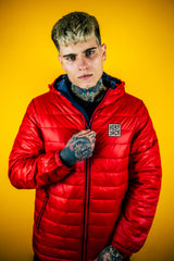 Embroidered HJ Padded Jacket - RED