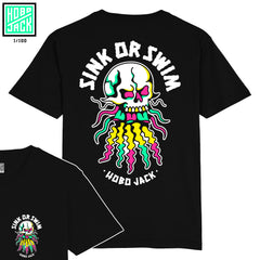 SINK OR SWIM - FRONT AND BACK - BLACK TEE - ASH PRICE COLLAB