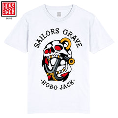 SAILORS GRAVE - FRONT PRINT TEE - WHITE - ASH PRICE COLLAB