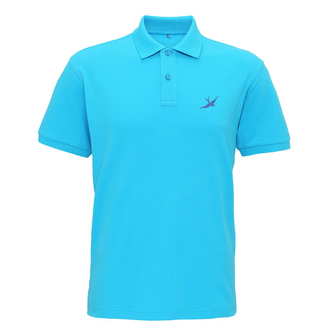 Hobo Jack Traditional Embroidered Swallow POLO Shirt - Turquoise & Navy