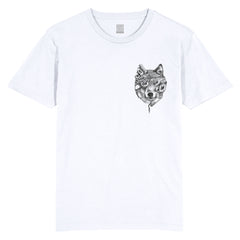 WOLF - WHITE T SHIRT - POCKET PRINT