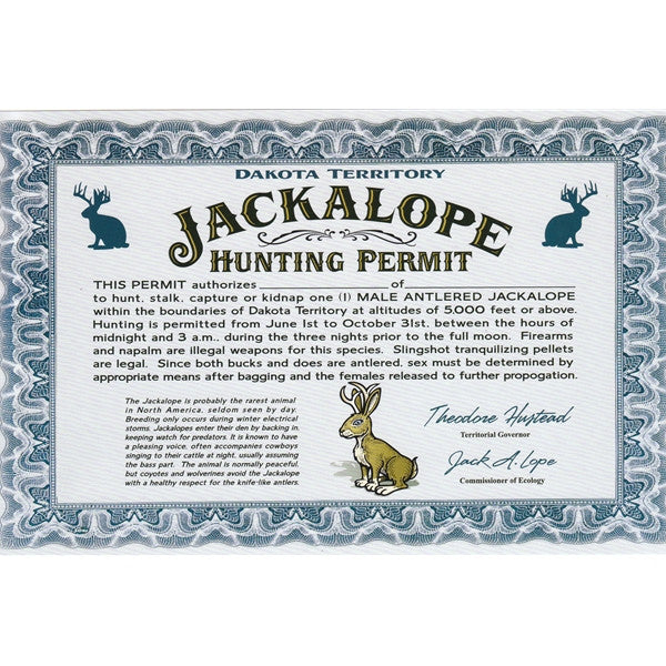 Jackalope Hunting Permit - Wall Drug Store